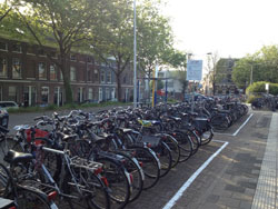 bicycle parking outside the train station